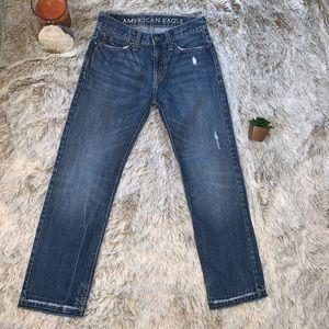 AEO Straight Leg Frayed Hem Jeans